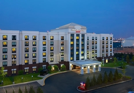 A front view of the newly renovated SpringHill Suites in Newark NJ